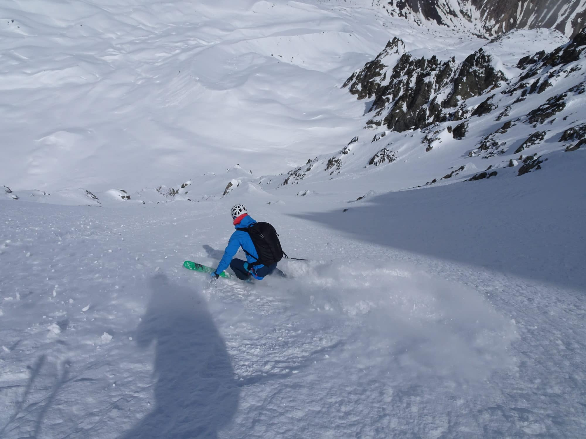 Couloir Piaget, Laure en descente. Photo Helyum.ch.
