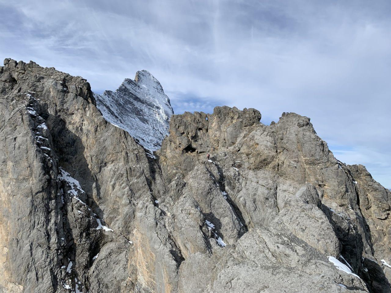 Eiger vu depuis la première partie de l'arête Mittellegi